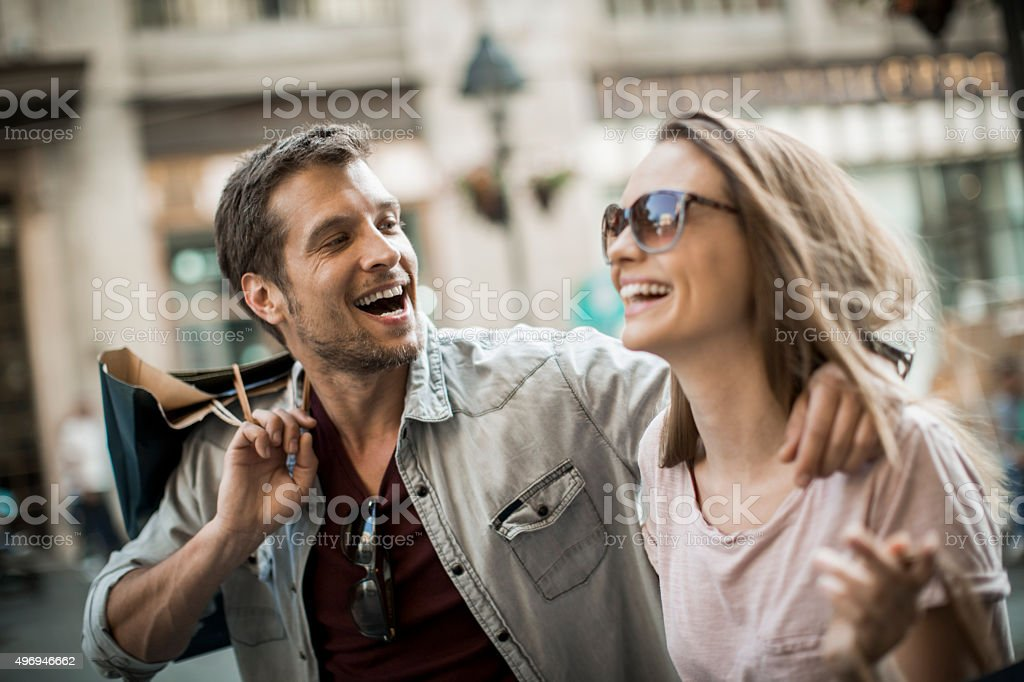 Couple in shopping stock photo
