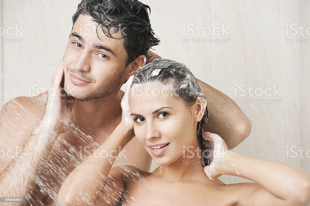 Couple in shower royalty-free stock photo