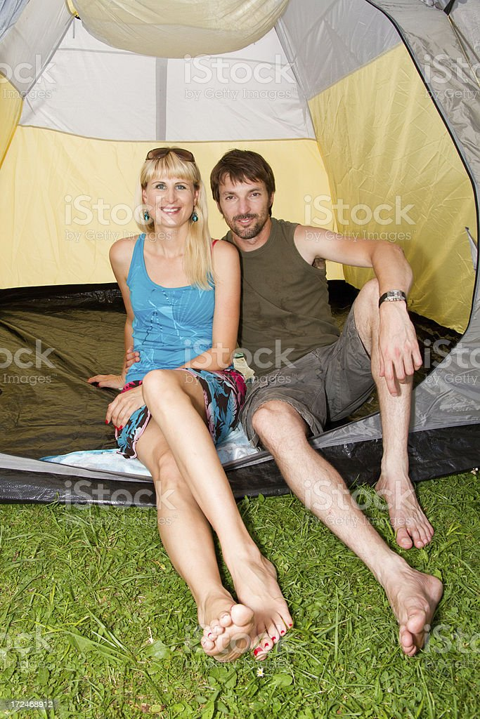 Couple in tent stock photo