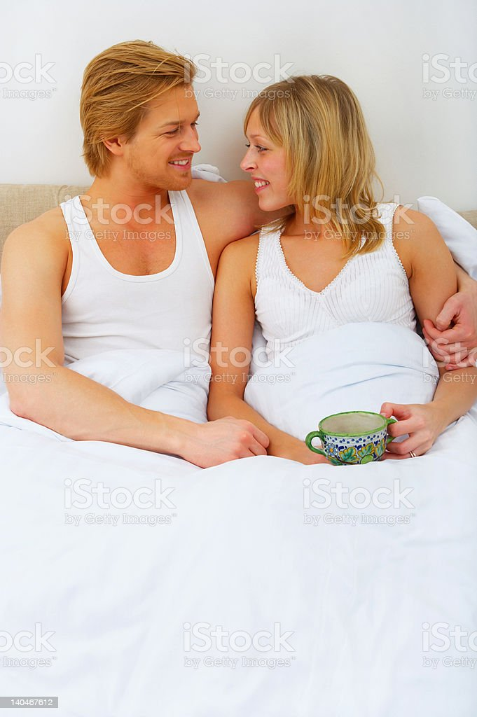 Couple in the bed royalty-free stock photo