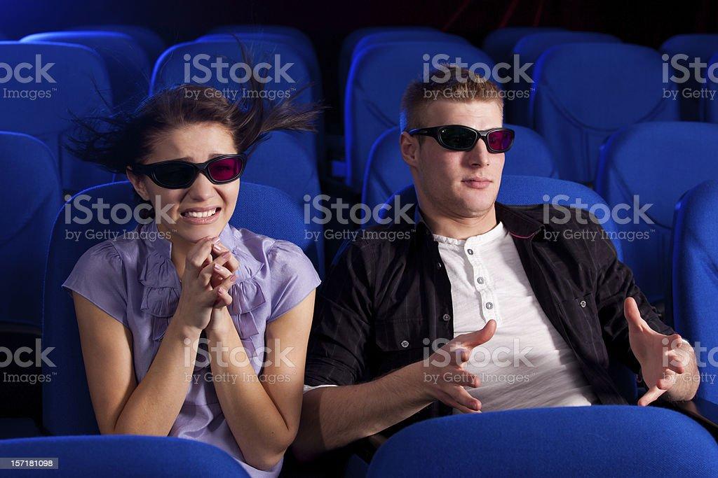couple in the cinema stock photo