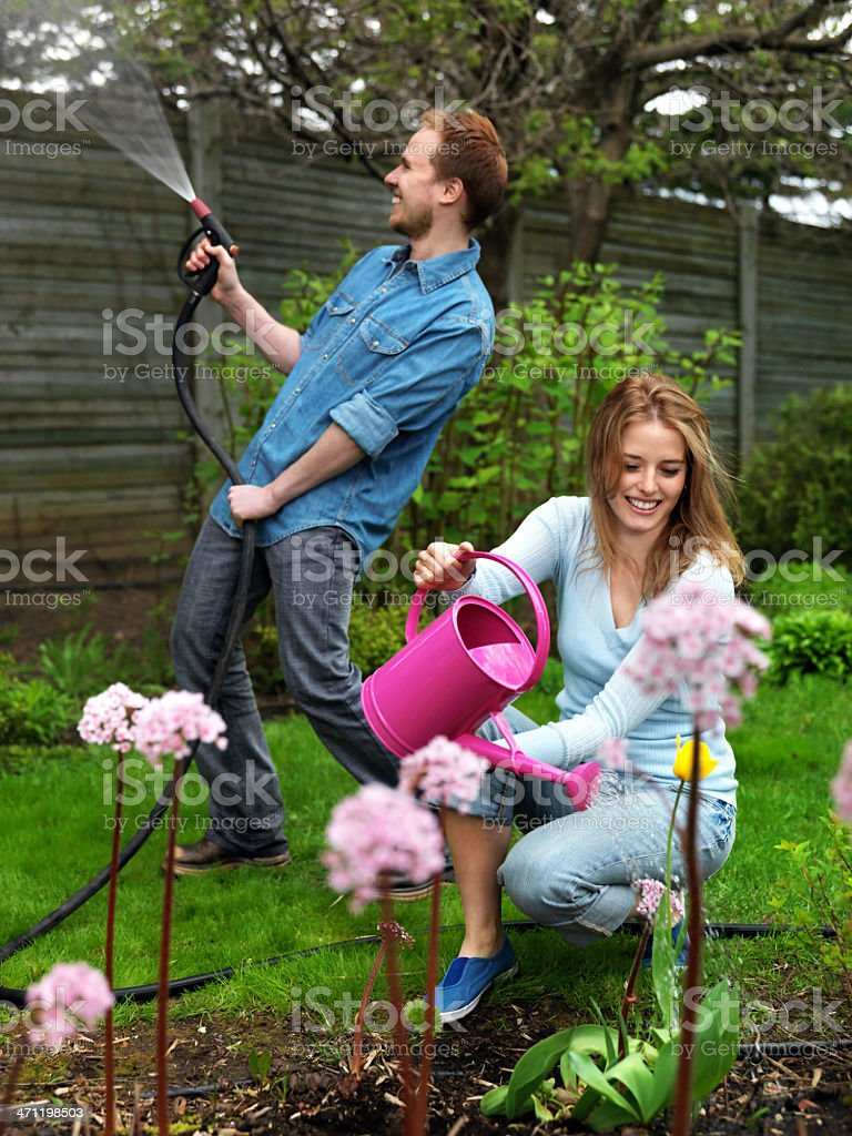 Couple in the garden royalty-free stock photo