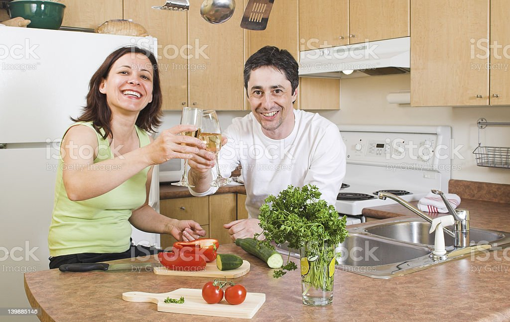 couple in the kitchen royalty-free stock photo