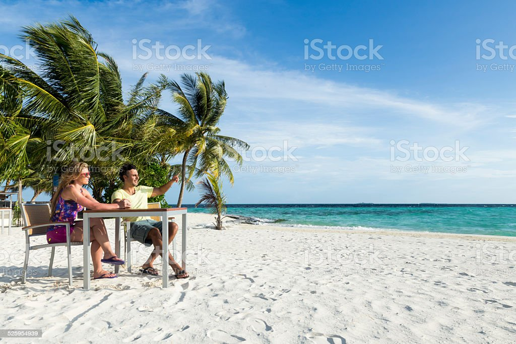 Couple in the Maldives islands stock photo
