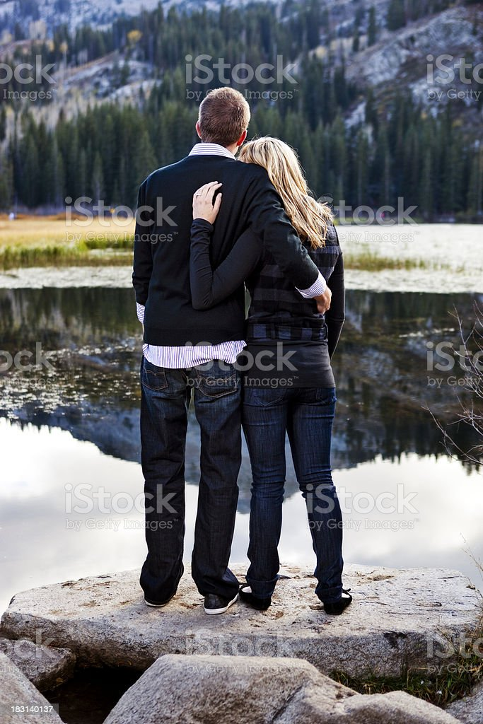 Couple in the Mountains stock photo