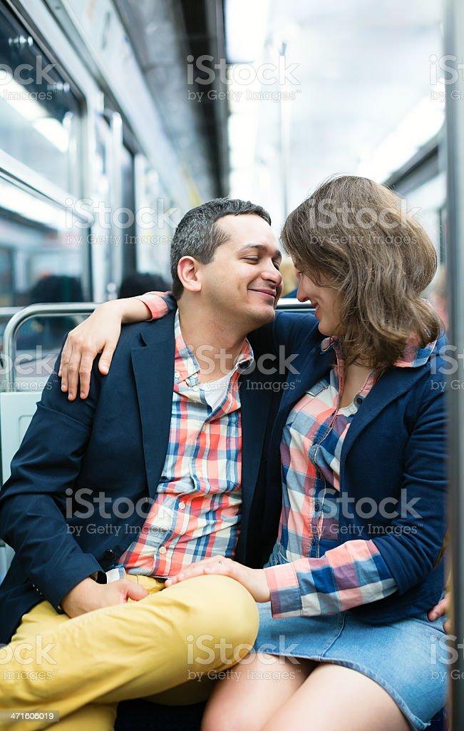Couple in the Parisian metro royalty-free stock photo