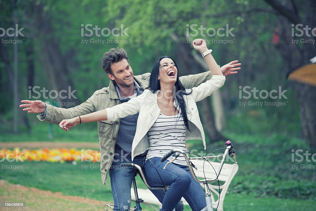 Couple in the park stock photo