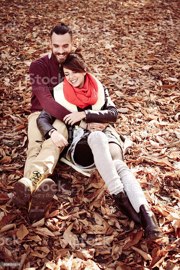 Couple in the park. stock photo