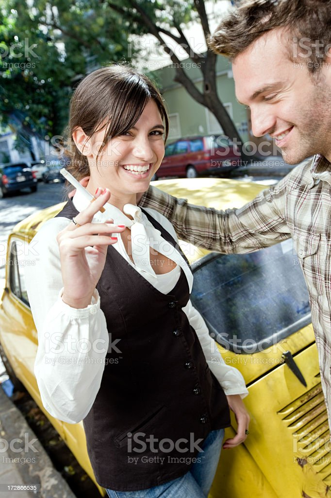Couple in the street royalty-free stock photo