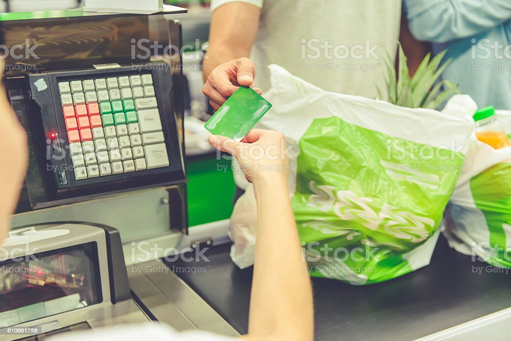 Couple in the supermarket stock photo