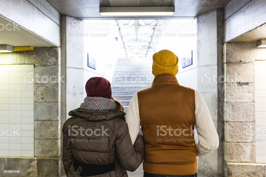 Couple in tunnel stock photo