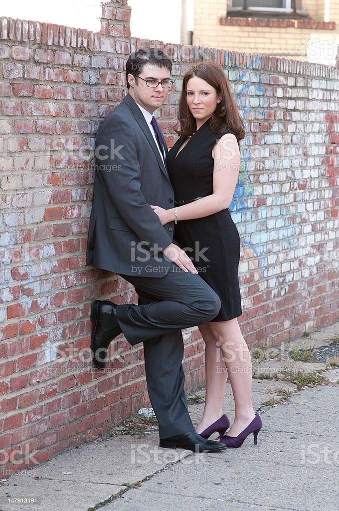Couple in urban setting stock photo