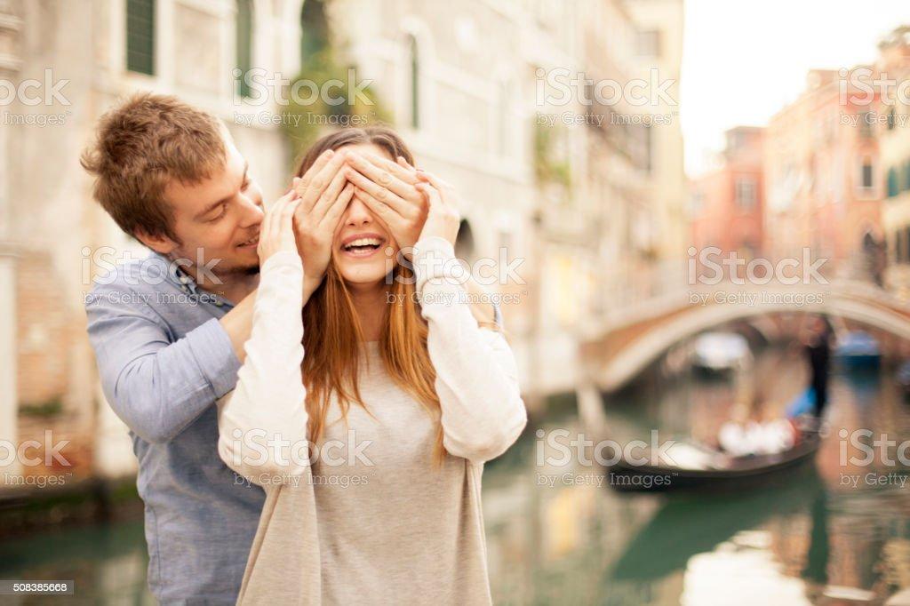 Couple in Venice stock photo