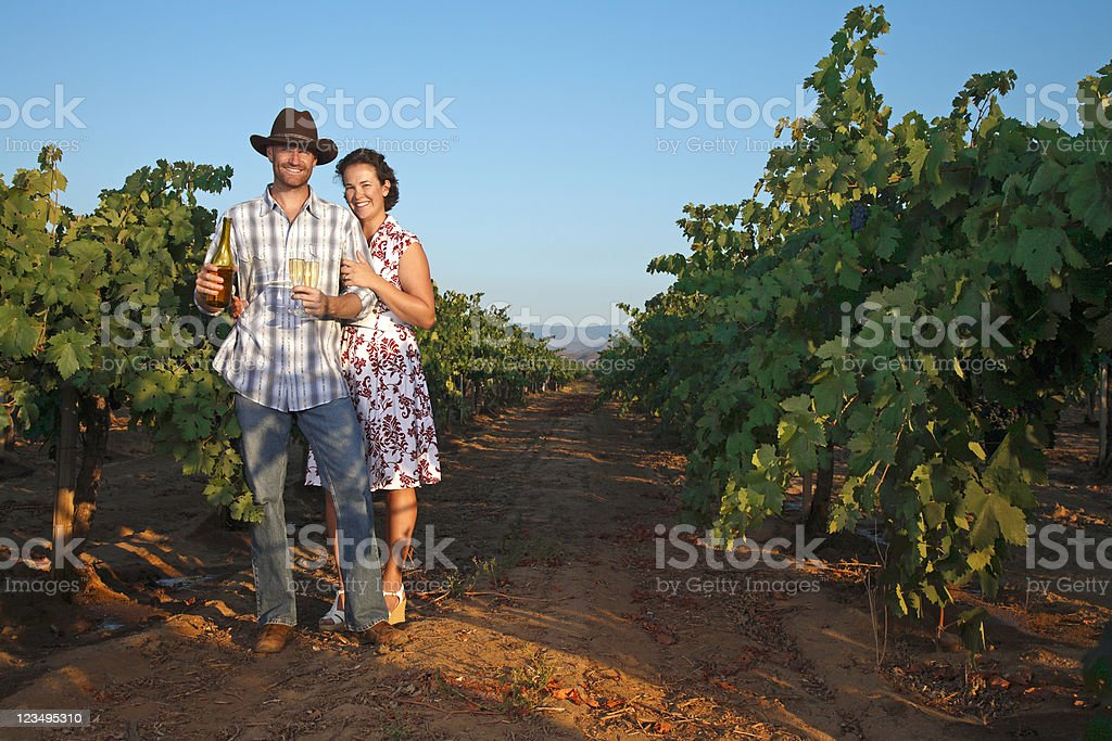 couple in vineyard royalty-free stock photo