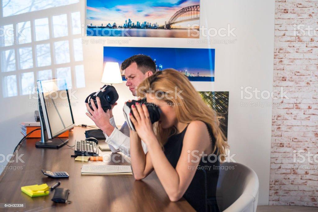 Couple in virtual reality stock photo