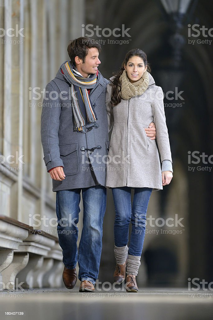 Couple in Winter Fashion stock photo