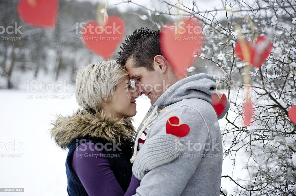 Couple in winter stock photo