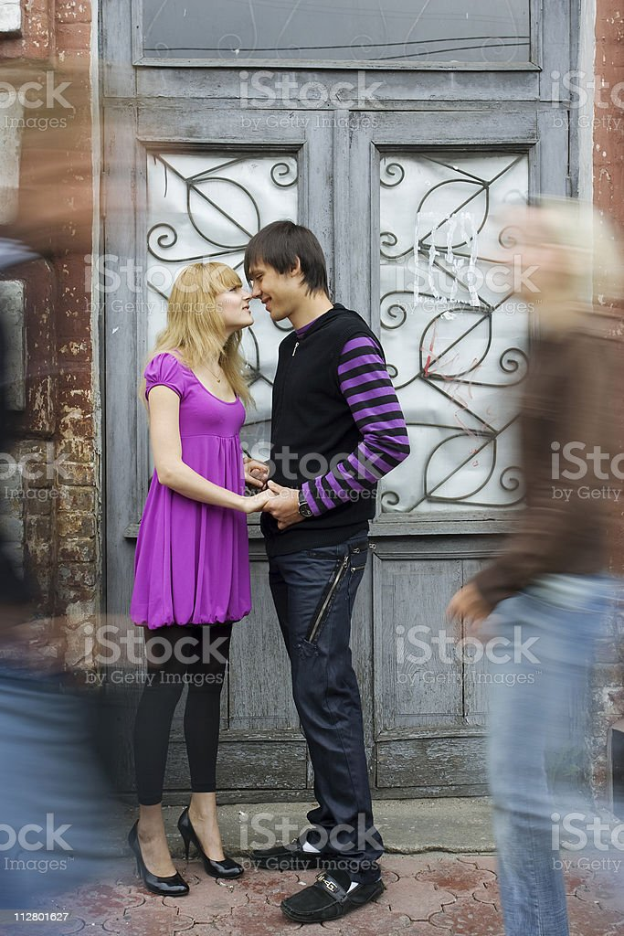 Couple inlove standing on the street stock photo