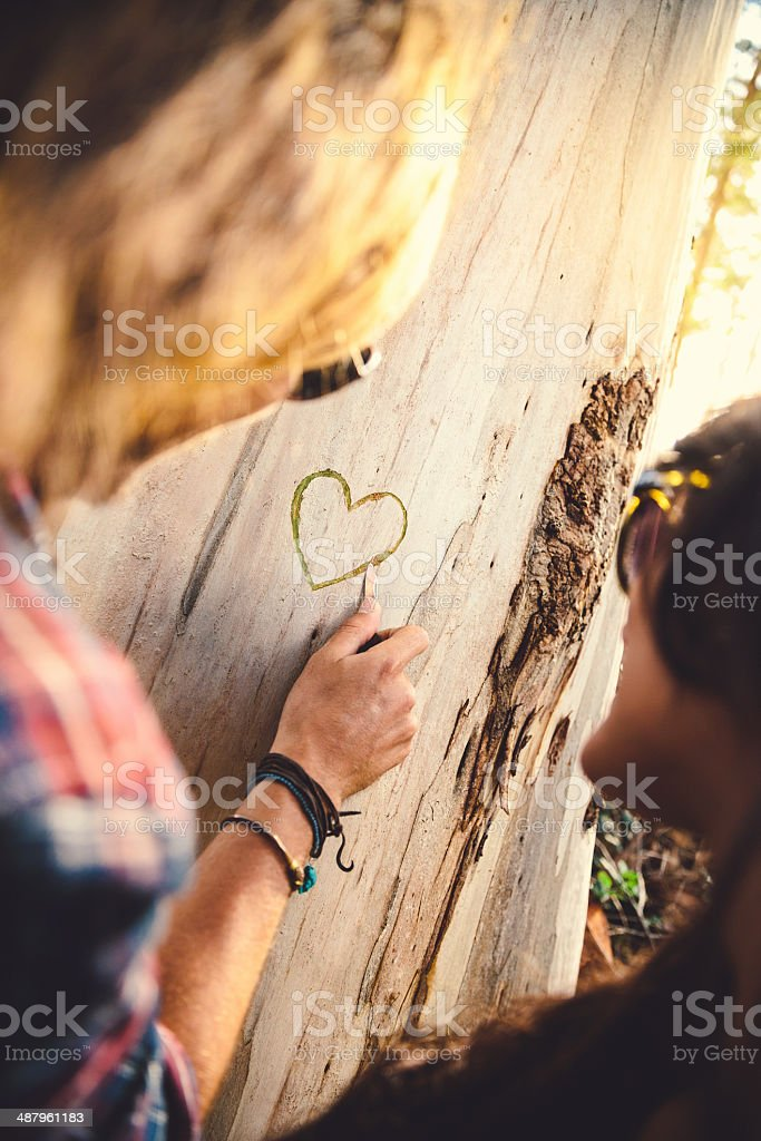 Couple is carving a heart stock photo