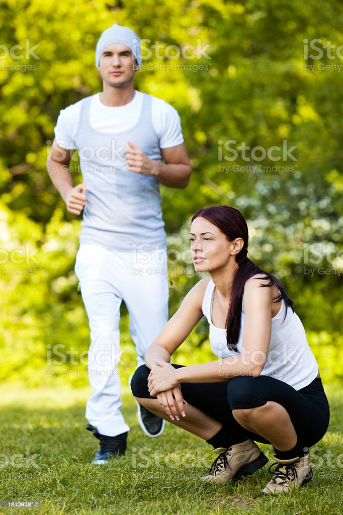 Couple Jogging Outdoors royalty-free stock photo
