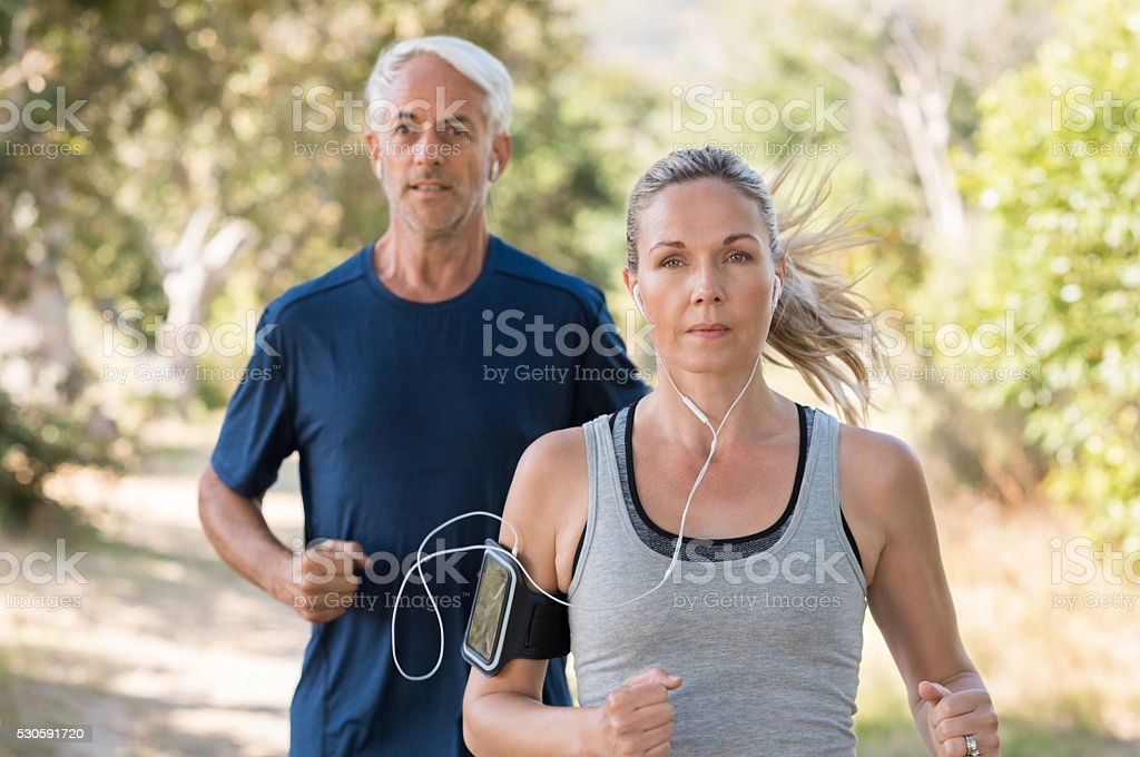 Couple jogging stock photo