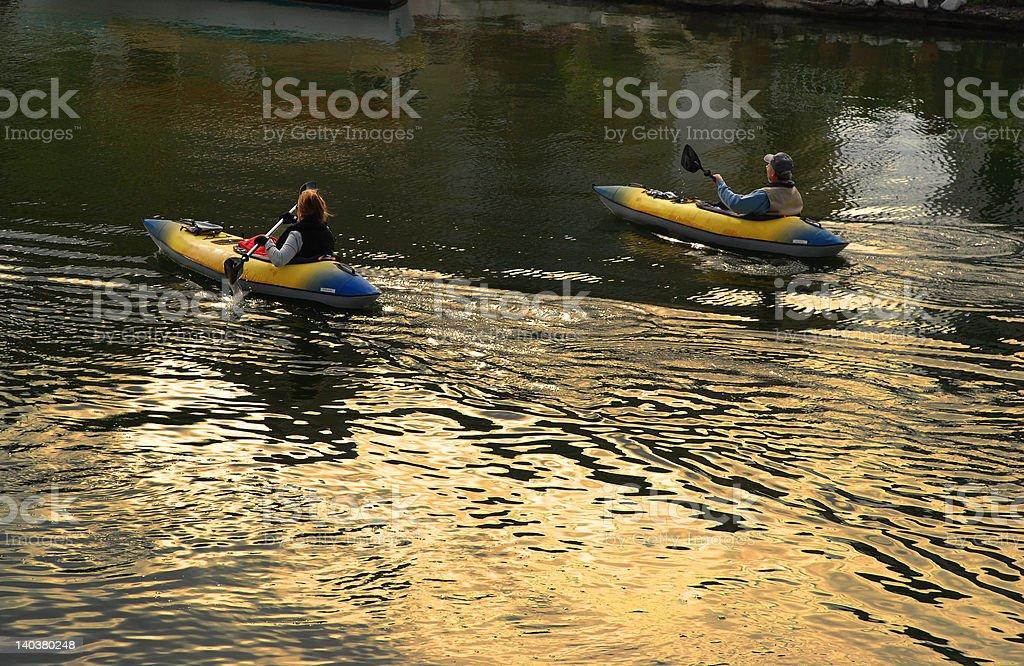 Couple Kayaking royalty-free stock photo