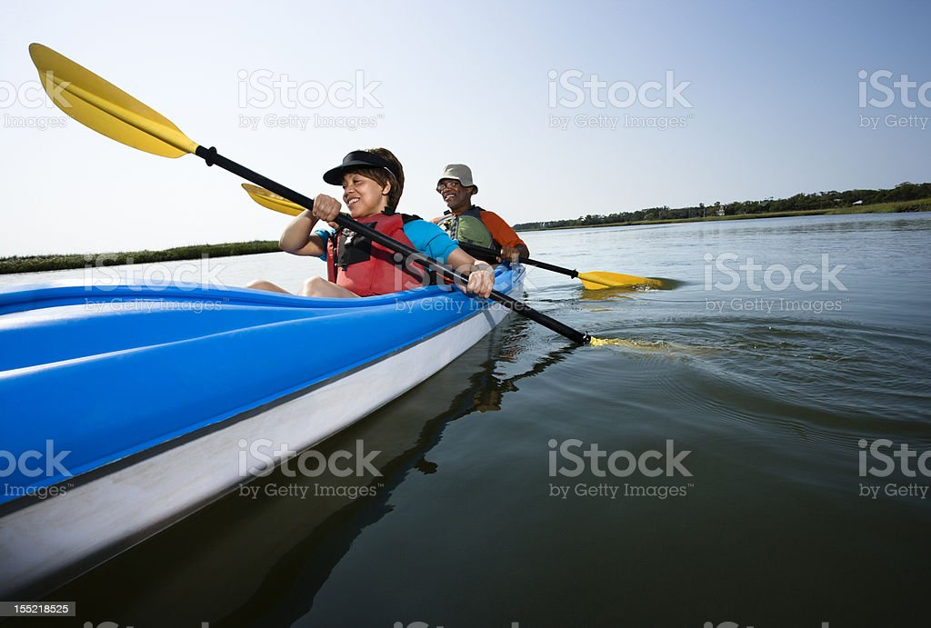 Couple kayaking. royalty-free stock photo