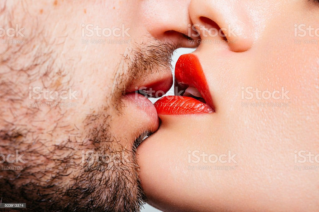 Couple kiss stock photo