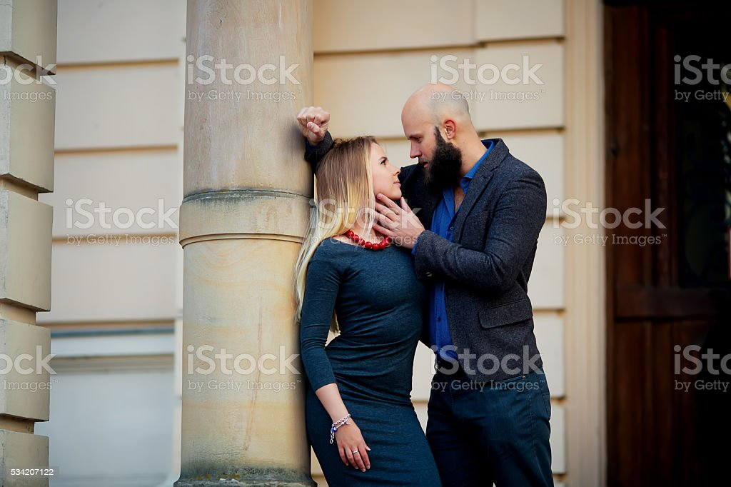 Couple kissing happiness fun. Interracial royalty-free stock photo