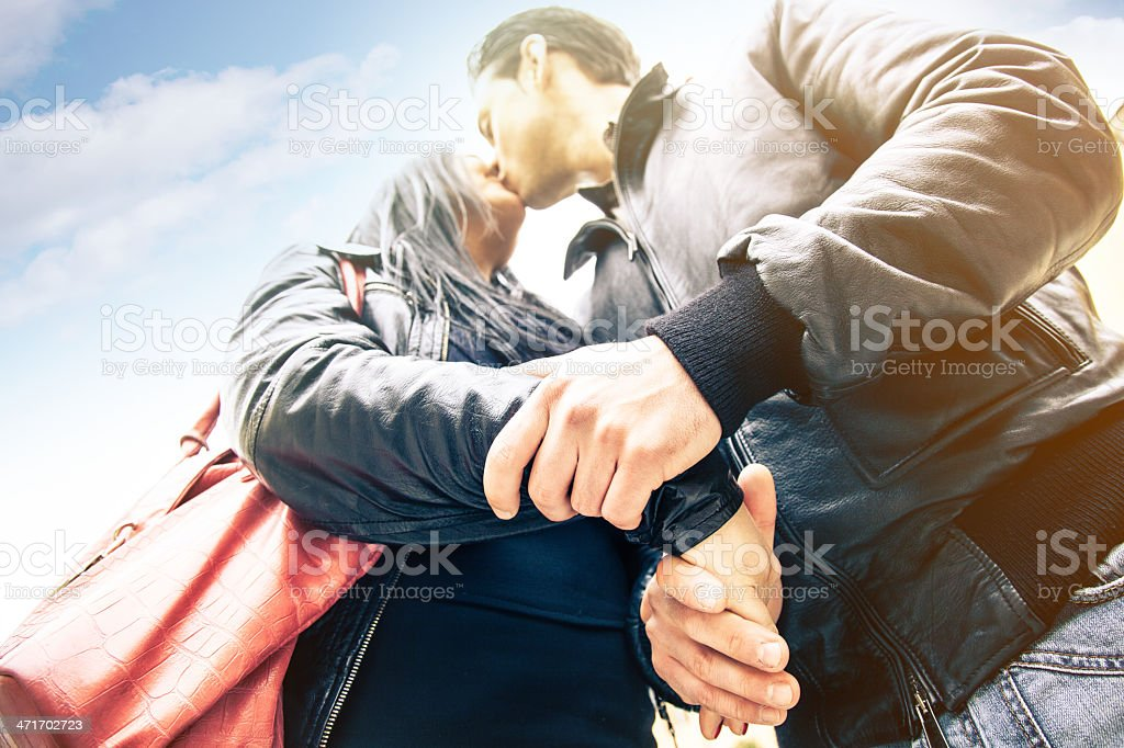 Couple kissing outdoors royalty-free stock photo