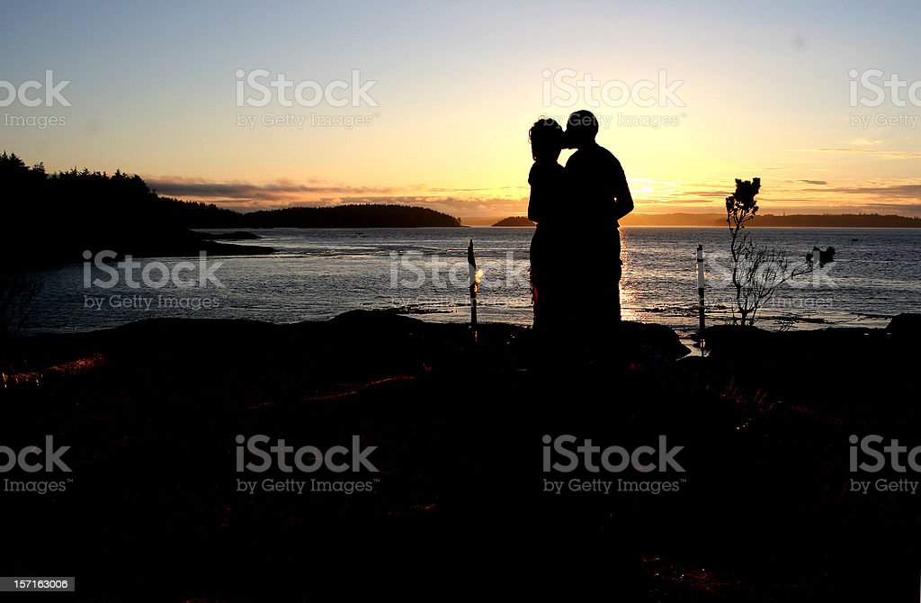 Couple Kissing Silhouette royalty-free stock photo