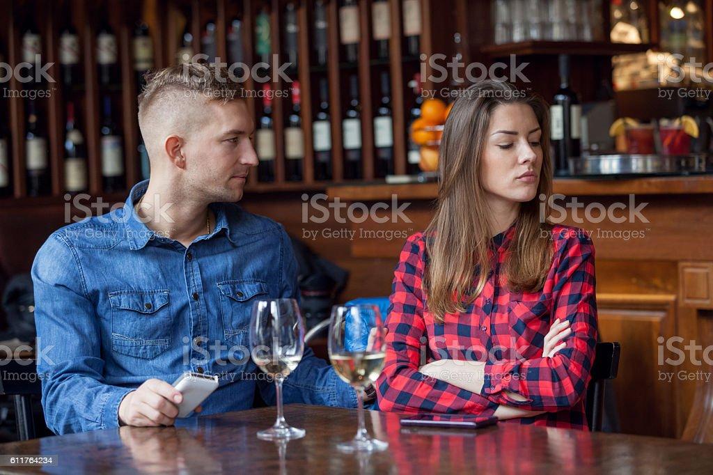 Couple lacking communication stock photo