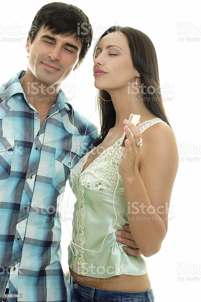 Couple listening music royalty-free stock photo