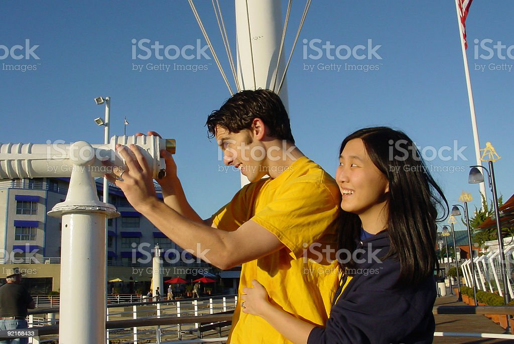 Couple Looking Ahead royalty-free stock photo