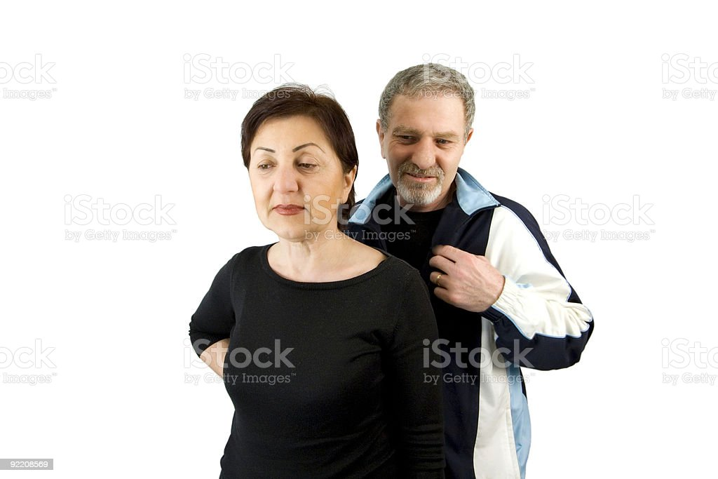 Couple Looking at Something Down royalty-free stock photo