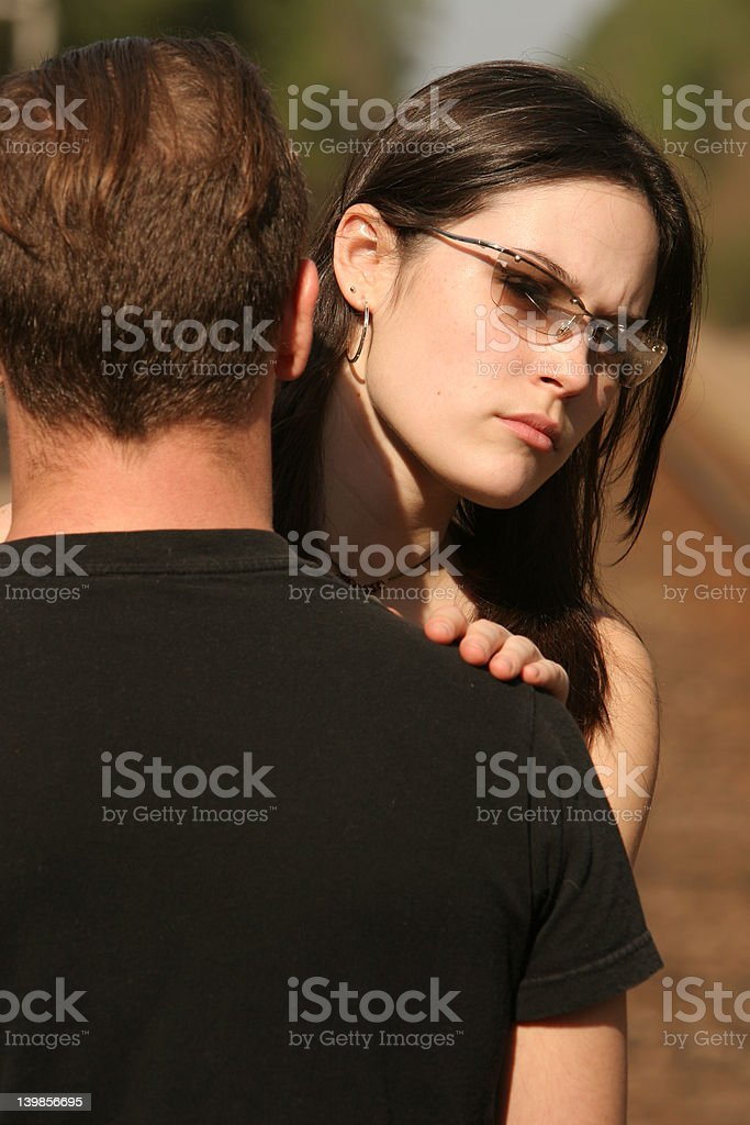 RR couple looking away royalty-free stock photo
