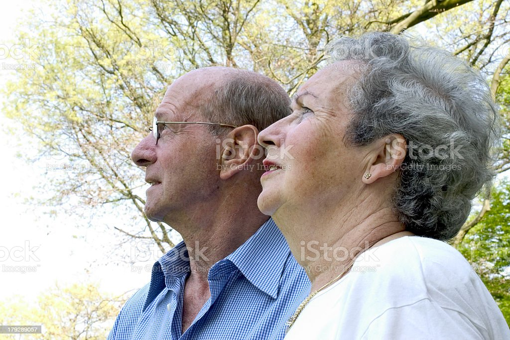 Couple looking away (full color) royalty-free stock photo