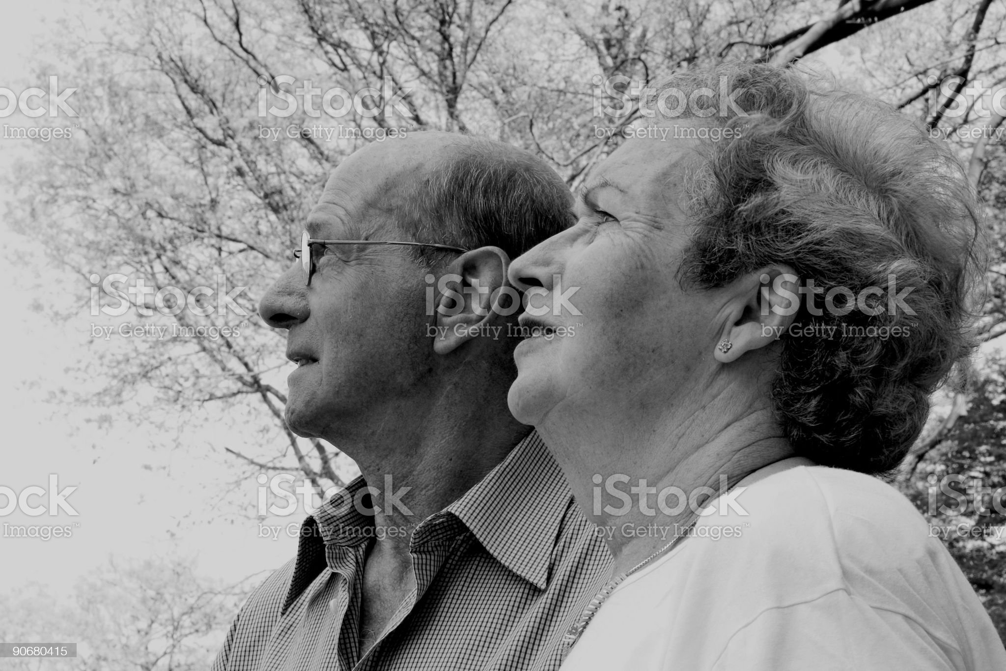 Couple looking away (B/W) royalty-free stock photo
