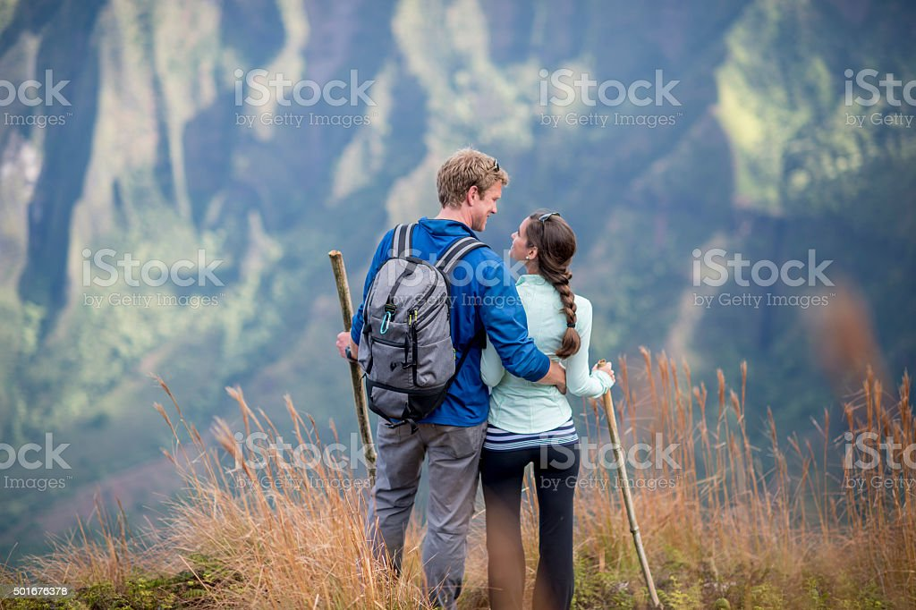 Couple Lovingly Looking at Each Other stock photo