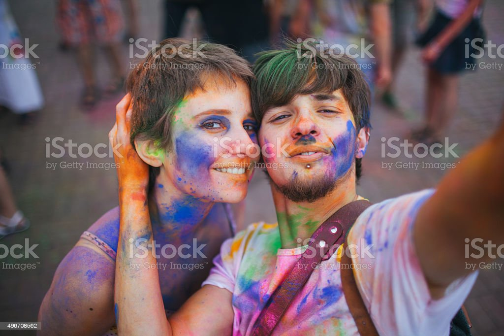 Couple make selfie stock photo