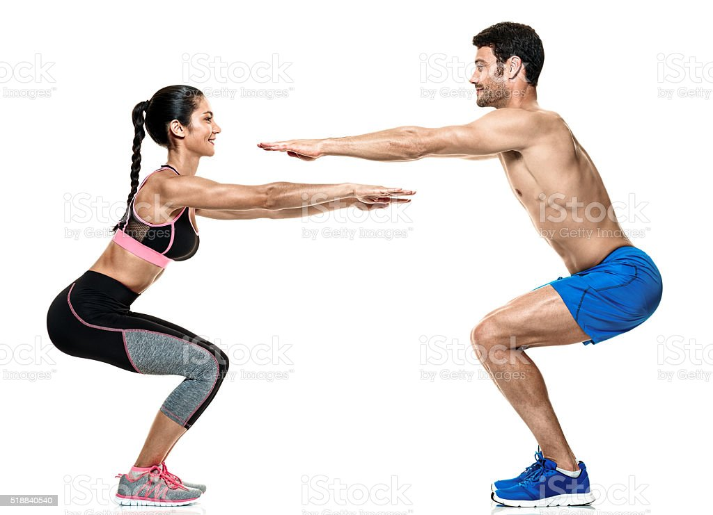 couple man and woman fitness exercises isolated stock photo