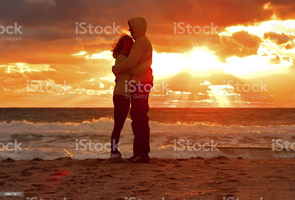 Couple Man and Woman Hugging in Love stock photo