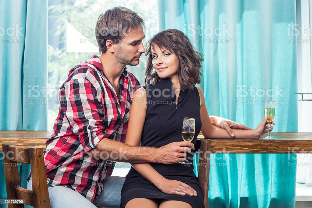 Couple man and woman in the bar with bacale stock photo