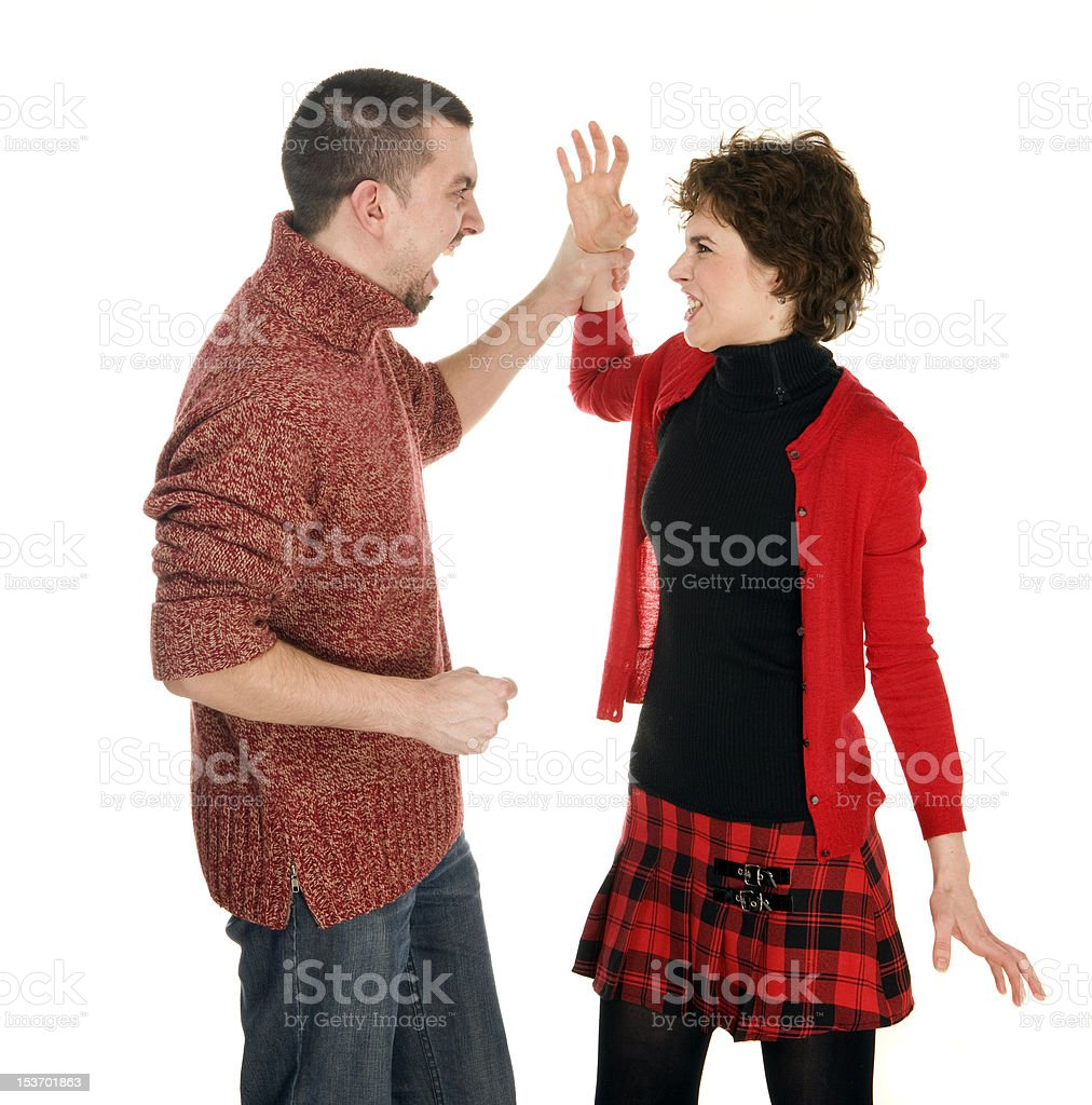 couple man and woman scandal, domestic violence, divorce stock photo