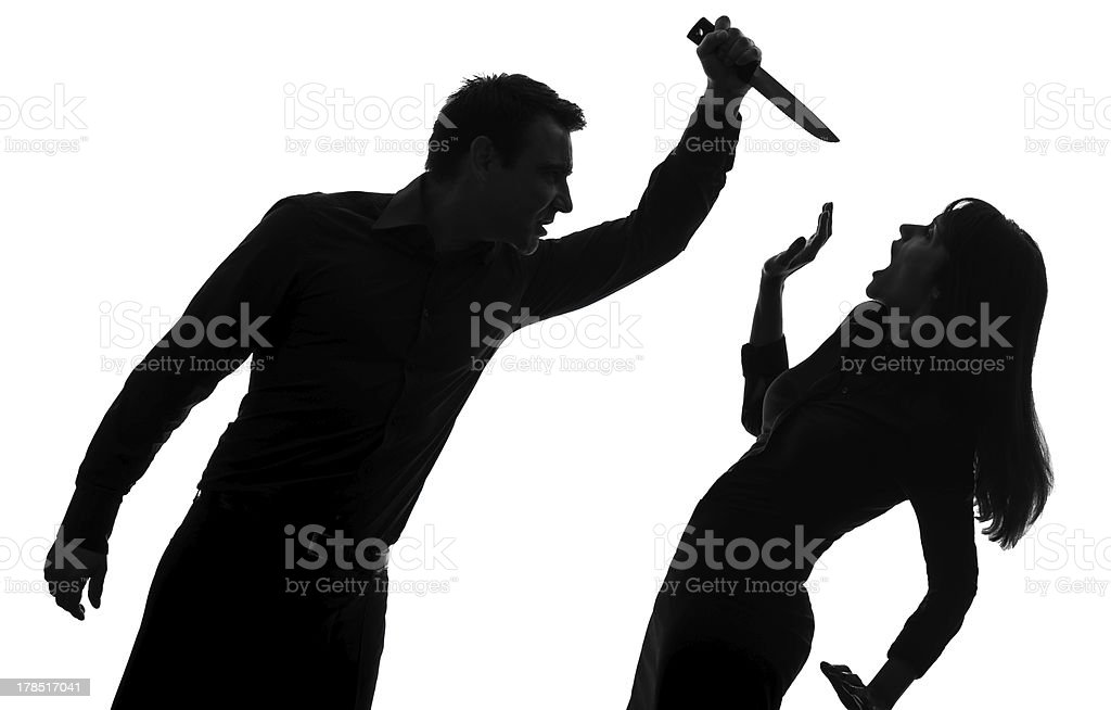 couple man killing woman  silhouette royalty-free stock photo