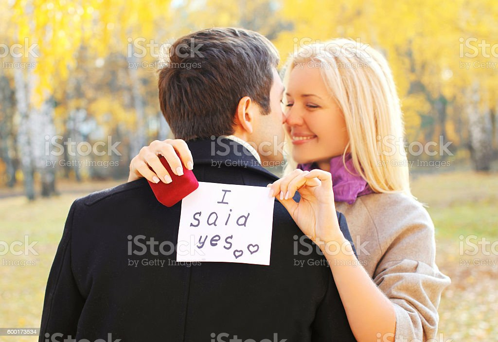 couple, man proposes a woman to marry red box ring royalty-free stock photo