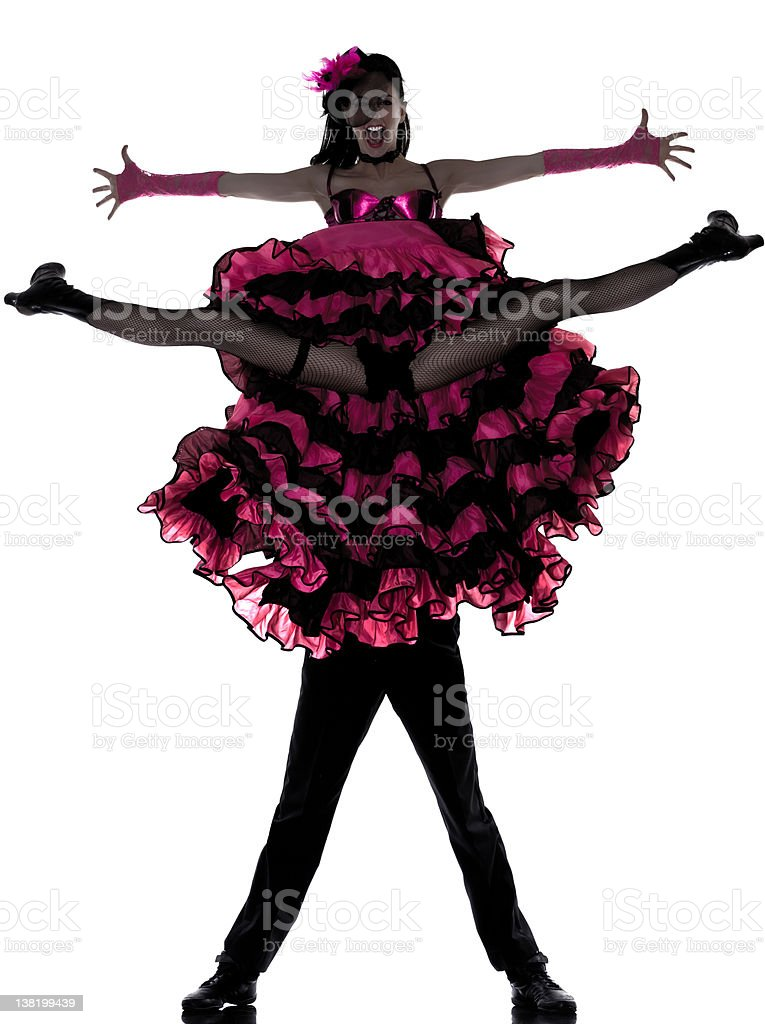 couple man woman dancer dancing french cancan royalty-free stock photo