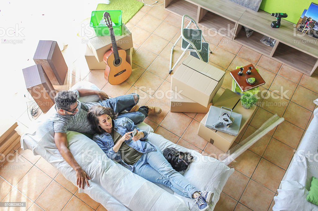 Couple moving home stock photo