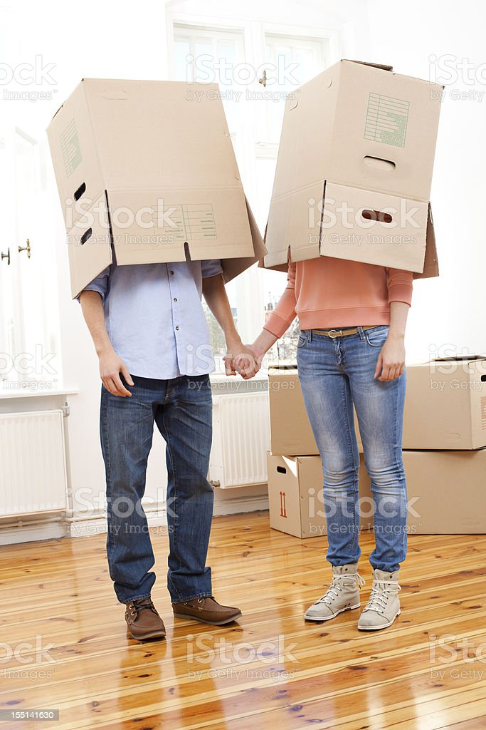 Couple moving house royalty-free stock photo