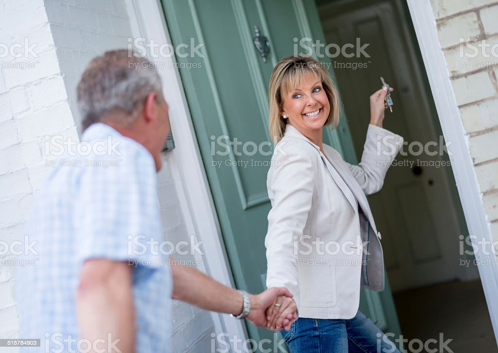 Couple moving house stock photo